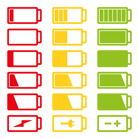 Battery flat icon set vector illustration isolated on white background eps10. Symbols of battery charge level, full and low.