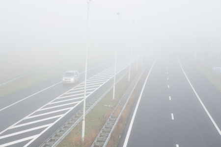 Foggy on the A2 motorway in Amsterdam