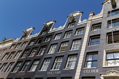 Historical canalhouses on the Prinsengracht in Amsterdam in the Netherlands. Redactioneel