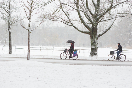 A woman with a umbrella and a man biking in the Amsterdam Vondelpark on a snowy winter day in december in the Netherlands. Stockfoto