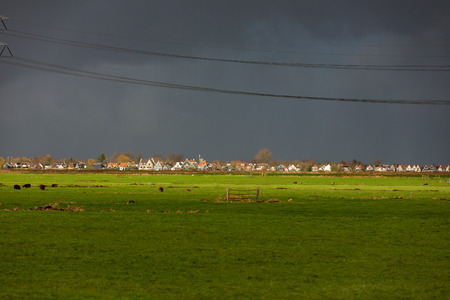 Heavy rain over the Dutch village of Landsmeer in the Netherlands.
