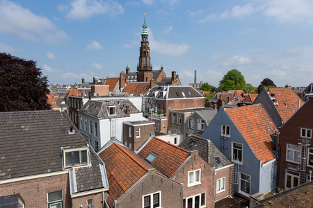Tower of the cityhall and rooftops in the historic city of Leiden, the Netherlands.