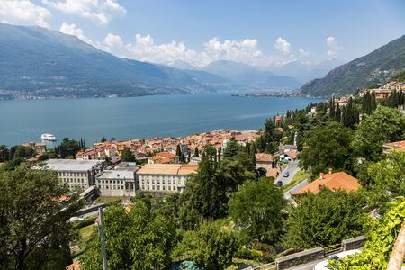 Colico village overview on the shore, Lake Como, Lecco region, Northern Italy, Europe