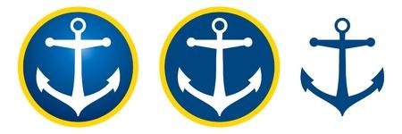 deportes nauticos: Icono de ancla azul oscuro