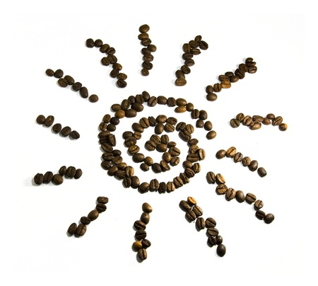sun symbol from coffee beans on a white background