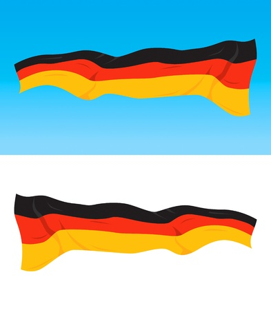 deutsch: German national flag on blue and white backgrounds Illustration