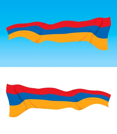 armenian: Armenian national flag on blue and white backgrounds
