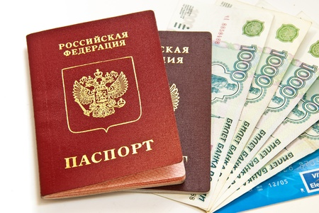 Russian money and two passports. Close-up objects. Archivio Fotografico