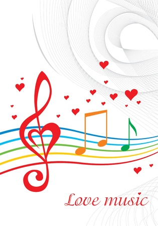 minims: Vector colored music background with treble clef of heart shaped