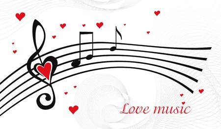 Vecteur noir et blanc avec fond de musique clé de sol en forme de coeur de la