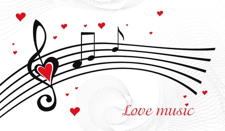 notes music: Vector black and white music background with treble clef of heart shaped
