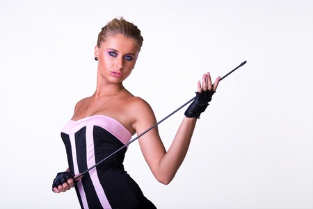 Sexy female model posing in black and pink dress Stock Photo - 12785126
