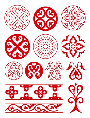 tracery: Floral ornaments of Ancient Russ. Vector tracery