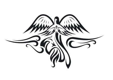 tatouage ange: Noir et blanc silhouette ange.