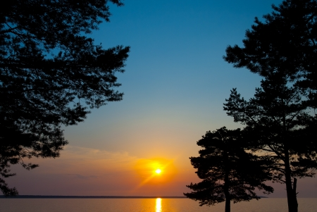 Beautiful sunset on the Gulf of Finland photo