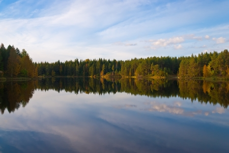 Beautiful autumn forest at the rivers coast  Karelia   photo