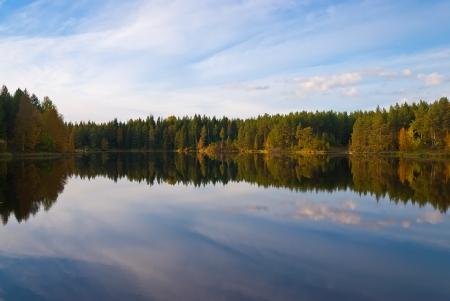 fishing scene: Beautiful autumn forest at the rivers coast  Karelia