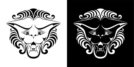 Lion head. Black and white vector illustration. Vector