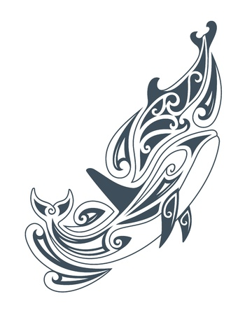illustration of dolphins, in tribal drawing style