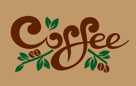 line art stylish coffee lettering vector illustration