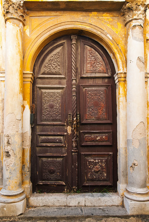Wooden Brown Old Door of Greek Island photo