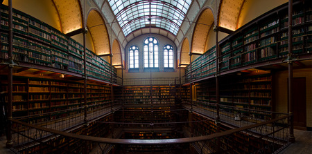 Interior Of Old Library In Rijksmuseum Amsterdam, Holland Stock ...