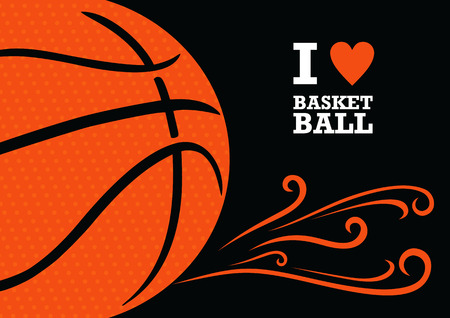 hearts background: Vector background basketball theme. The stylized image of a basketball ball