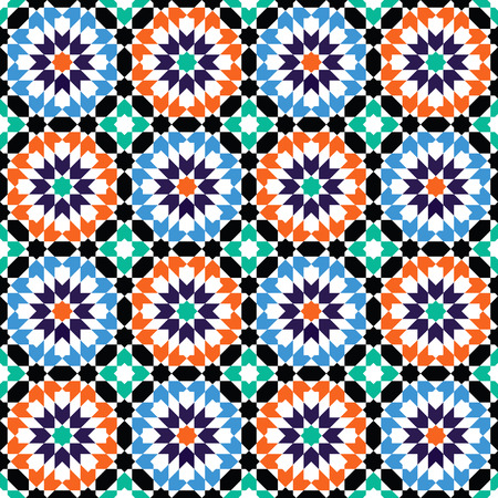 Moroccan style mosaic ornament. Seamless mosaic tile pattern Illustration