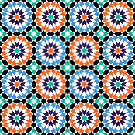 Moroccan style mosaic ornament. Seamless mosaic tile pattern Çizim