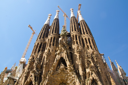 La Sagrada Familia masterpiece of architect Antoni Gaudi. June 2014, Spain, Barcelona 版權商用圖片