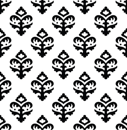 renaissance: Black and white vector ornament in the Renaissance style. Seamless pattern