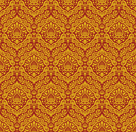renaissance: Red and yellow vector ornament in the Renaissance style. Seamless pattern