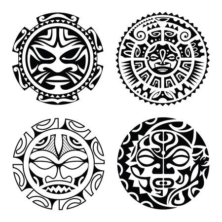 antifaz: Conjunto de tatuaje de estilo polinesio máscaras. Ilustración del vector.