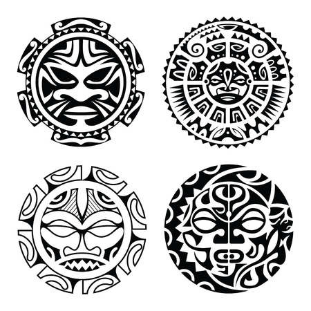hawaiian culture: Set of polynesian tattoo styled masks. Vector illustration.