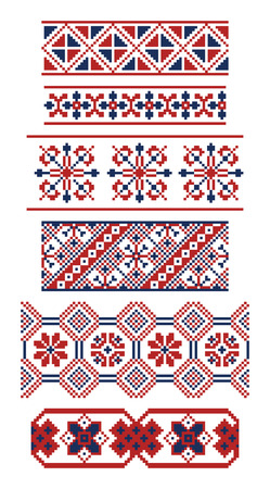 red cross red bird: Collection of  borders of Russian ornaments. Slavonic patterns. Illustration
