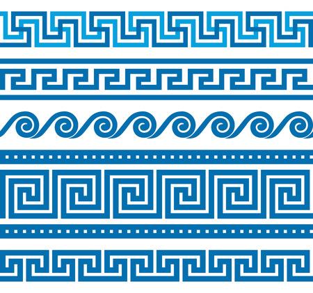 ancient greece: Colecci�n de vectores antiguos ornamentos de fronteras griegas Vectores