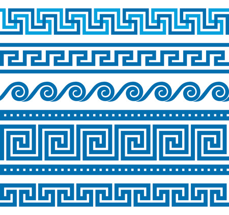 Collection of vector antique greek border ornaments Vettoriali