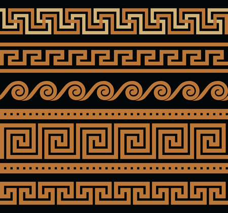 color pattern: Collection of vector antique greek border ornaments Illustration