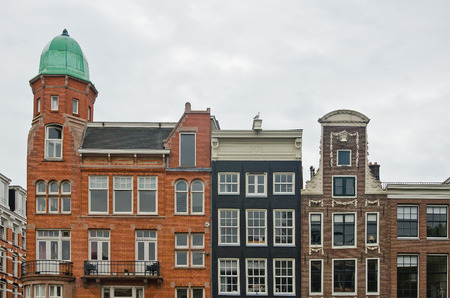 canal houses: Series of canal houses in Amsterdam, The Netherlands Stock Photo