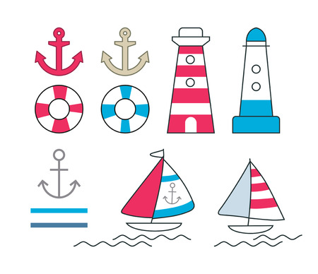 scalable: Set of vector nautical symbols. Scalable image. Illustration
