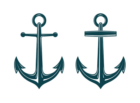 heavy: Vector picture of two heavy iron anchors