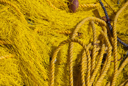 nylon string: Colored fishing net with rope and floats