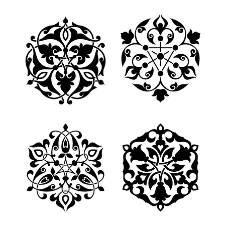 scrolling: Set of arabic oriental ornament, floral pattern motif, arabesque, islamic ornament