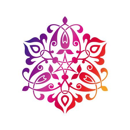 curvilinear: Arabic oriental ornament, floral pattern motif, arabesque, arabic ornament