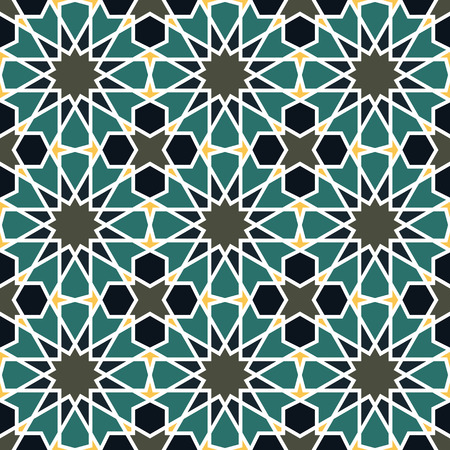 alhambra: Seamless pattern in Moroccan style. Mosaic tile. Islamic traditional ornament. Geometric background