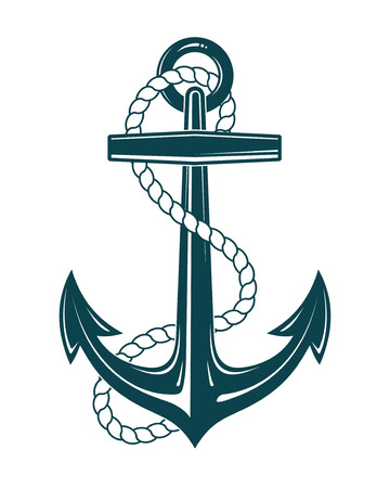 Nautical Anchor with rope. Vector illustraration isolated