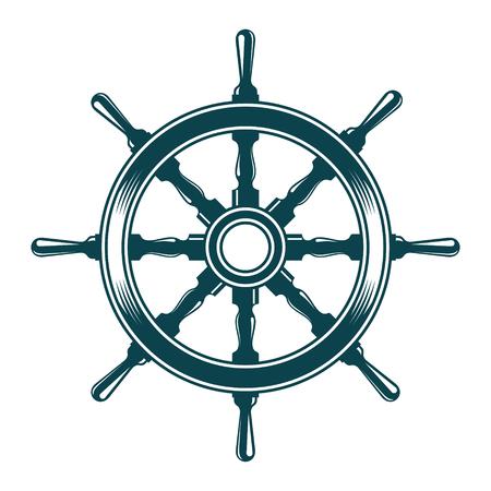 Ship steering wheel. Vintage vector illustration isolated 矢量图像