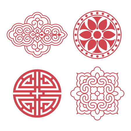 Set of vector Korean traditional design elements