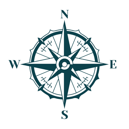 Vintage nautical compass rose. 向量圖像