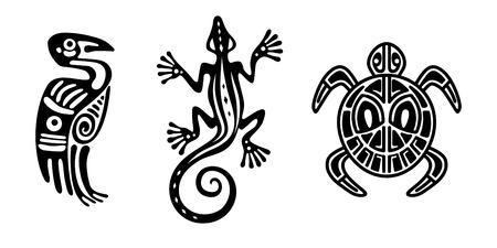 Elementi di design indiano sotto forma di animali: canna, tartaruga, airone